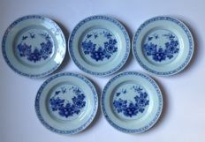 A set of five plates with Chinoiserie decor, Delft, The Netherlands, ca. 1800
