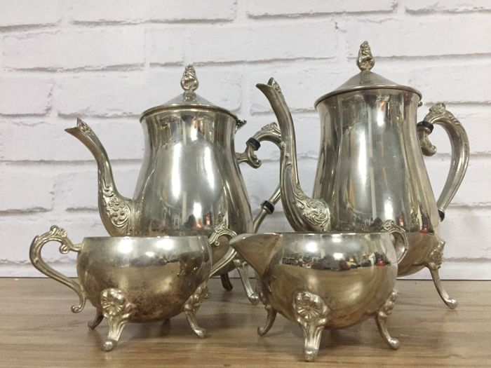 Antique Victorian silver-coloured coffee/tea set, early 20th century