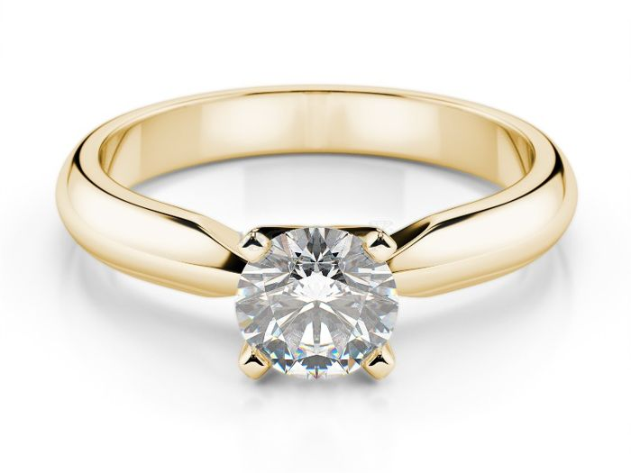 Solitaire ring in 18 kt yellow gold and diamond, 0.25 ct, size 15