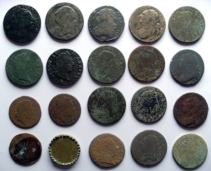 France - Lot of 20 coins from the 18th century in copper/bronze