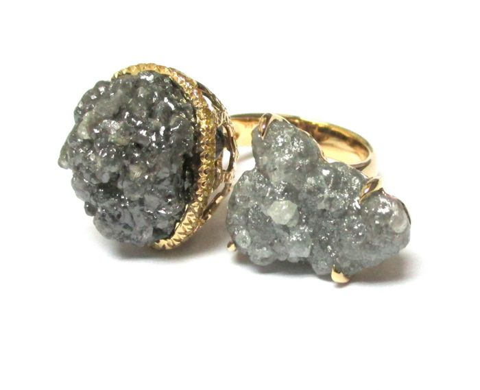 Twin Ring in Organic Rough Rock Diamonds( 41.08 carats) and Yellow Diamonds(0.31 cts ) in 18 kt Yellow Gold
