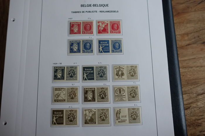 Belgium 1929/1941 - complete sets of commercial stamps (PUBs) on album pages
