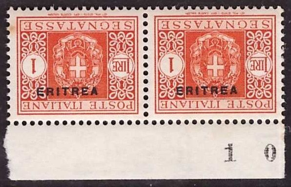 Eritrea, 1934 – 1 lira, postage due, pair with overturned overprint – Sass. No. 34a.