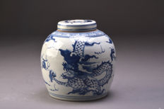 Antique Chinese porcelain blue and white bulb vase - with dragons - around 1920