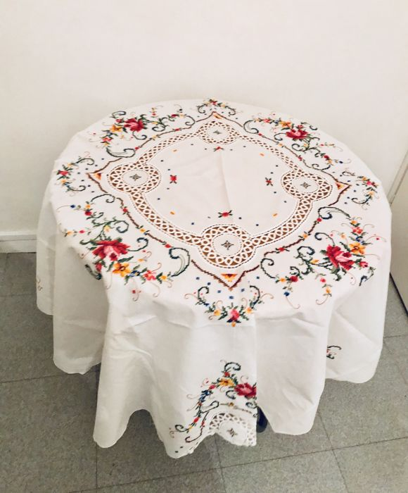 Old Hand Embroidered Tablecloth With Cross Stitch And Lace Catawiki