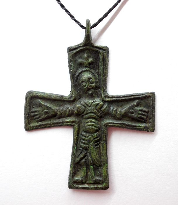 Early medieval Scandinavian bronze cross with a pseudo graphic image of Jesus Christ - 49х38 mm