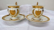 Two pairs of porcelain cabinet cups and saucers, Paris or Brussels, 19th century