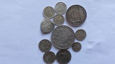 World – Lot of coins and medals in silver (11 coins) – including silver