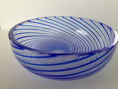 Murano (unidentified signature) - mezza filigrana white & blue bowl