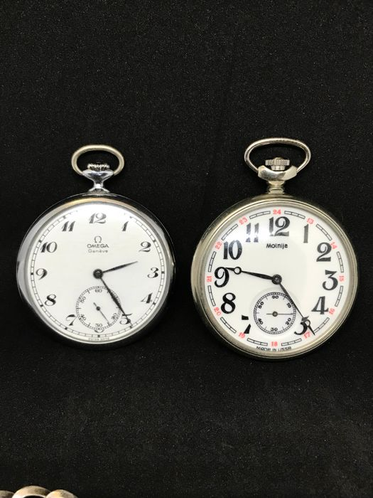 Bundle of Omega and Molnija pocket watches with 2 watch chains