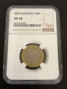 Bahrain - 100 Fils 2005 in NGC slab