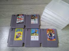 Lot of 5 Nintendo NES games - Super Mario Bros 3, Shadow Warrior, Paperboy 2, etc - with sturdy protective boxes