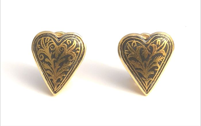 18k Gold and Agemina ( Pure Gold inlay on Iron ) Clips Earrings. Hand made in Italy