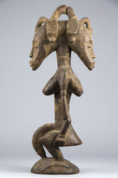 Two-headed feminine figurine - Deble - Poro Kulubele - SENUFO - Ivory Coast