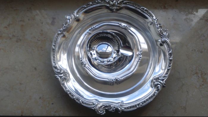 Silver plated dish/Small dish/Ash tray/Year 1975.