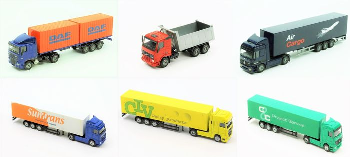 Joal - Scale 1/50-1/87 - Lot with 6 Trucks: 2 x DAF, 2 x Mercedes-Benz & 2x Volvo's