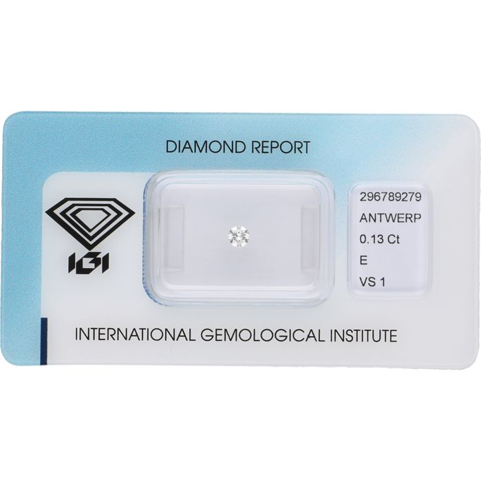 0.13 ct round brilliant cut diamond, E VS1