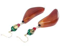 18K Gold Earrings Carnelian Black Onyx Red Coral Citrine Malachite Black Spinel