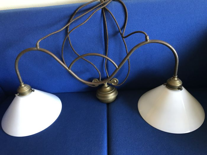 Vintage double table lamp with pulley and counterweight of solid copper and glass-second half 20th century