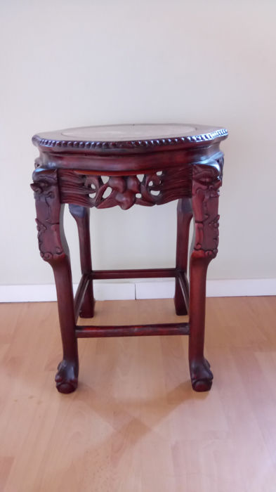 Chinese Wooden Side Table Base With Marble Top Catawiki