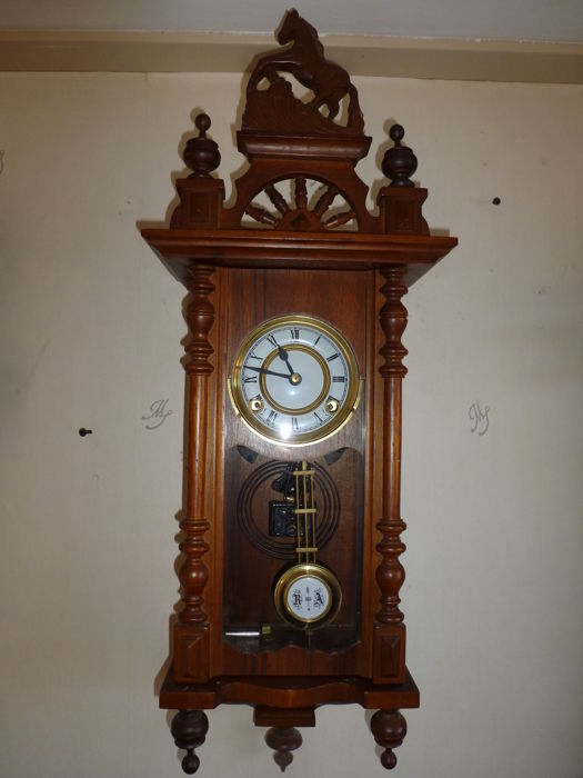 Horse clock - oak - brown - 1960s to 1970s