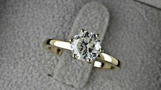 1.02 ct  round diamond ring made of 14 kt yellow gold *** NO RESERVE PRICE  ***
