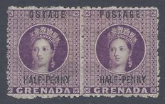 Grenada 1881  - 1/2d error ostage wm upright  - Stanley Gibbons 21g