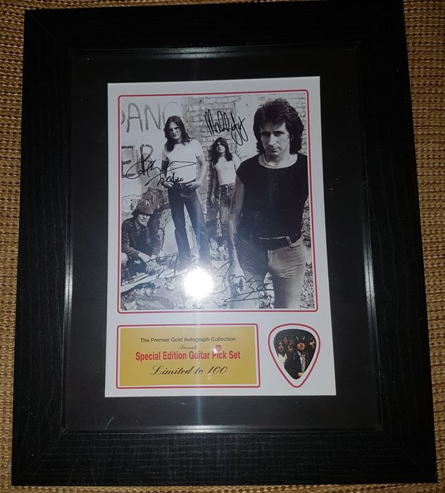 AC/DC Fully Signed (in print) Picture Framed With Special Edition Highway To Hell Guitar Pick - Limited Edition
