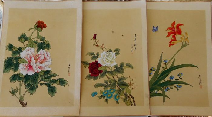 Three beautiful paintings with water colors on paper- signed - China - second half /late 20th century