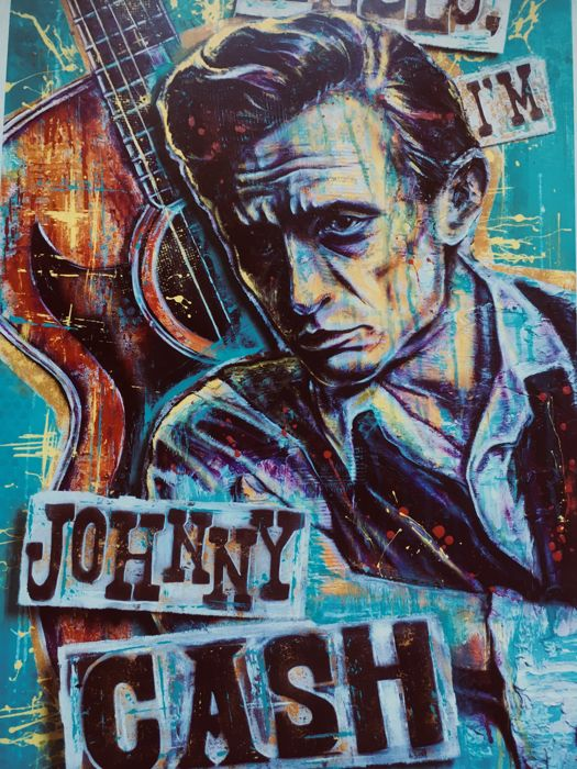 "2 Litography- Johnny Cash (26-02-32)-(12-09-03) , by Jim Zahniser , Red Robot Design and Illustration ( gold and platinum edition) "" Hello, I'm Johnny Cash "",  authentic print created and signed by  Sara Bowersock ( Art and Design)"