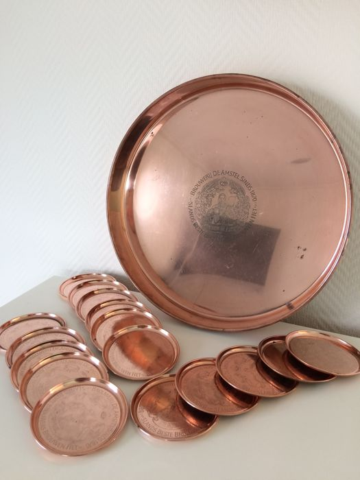 Complete red copper Amstel tray set
