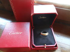 Cartier Trinity classic, white, pink and yellow gold, 12gr., No. 63mm Europe, No 23 Italy, Free resizing NO
