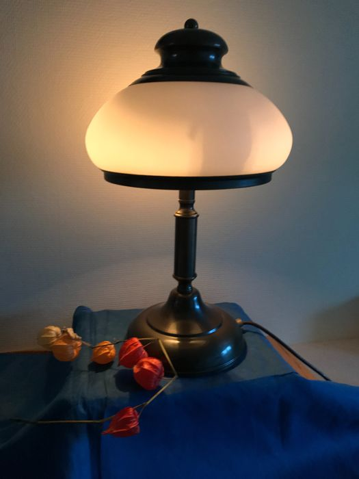 Table Lamp With Glass Lampshade And Double Light Points Catawiki