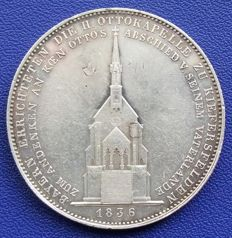 Old Germany, Bavaria - historical thaler Construction of the Otto Chapel 1836 - silver