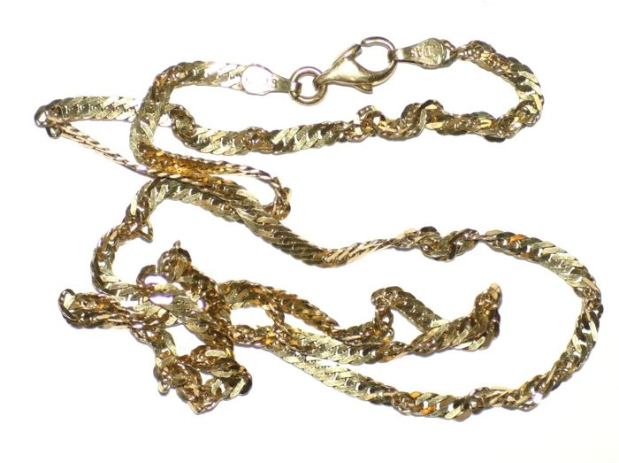 14K Yellow Gold Twisted Chain Necklace (585) Length 19'' (49cm)