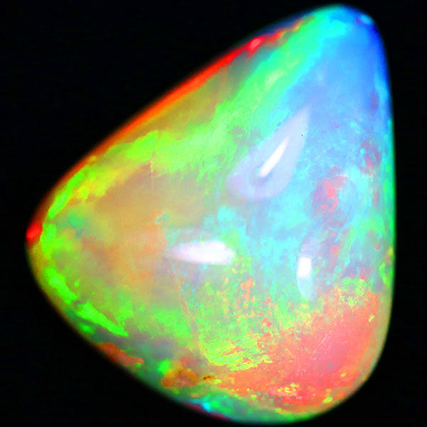 Glittering rainbow splash! Peacock pattern. Bright body solid Welo opal -  20.00x18.00x8.30mm - 13 ct