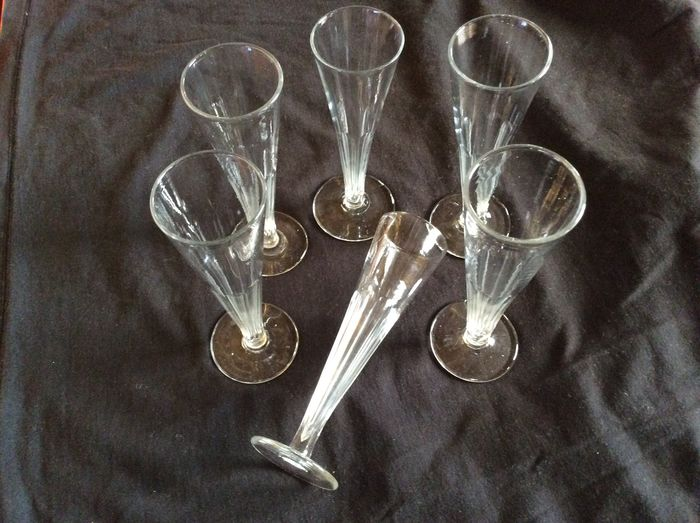 A set of six champagne glasses, the Netherlands, first half 19th century