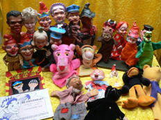 Beautiful lot with old, rare and unusual hand puppets and assortment.