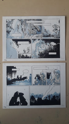 Jouvray, Jérôme - Original Plate (p.27) + Original sketch plate - Johnny Jungle vol. 1 - (2012)