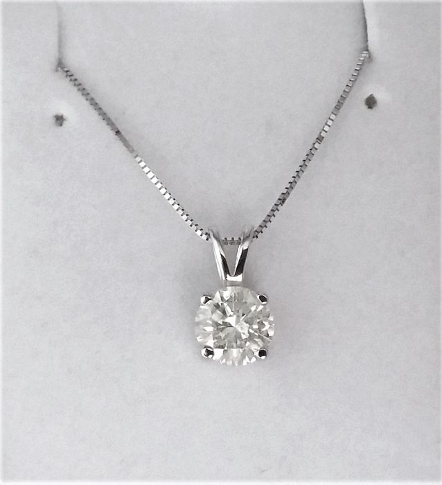 1 01 ct Round Diamond Pendant - H / SI2 - in 14k white gold + 14K Gold  Chain + AIG cert + Laser Engraved On Girdle - Catawiki