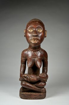 Figure of Mother and Child (Phemba) - YOMBE / BAKONGO - Democratic Republic of Congo