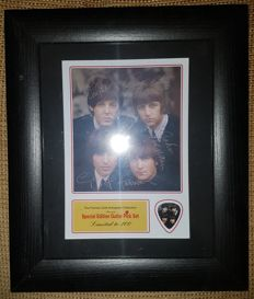 The Beatles Fully Signed (in print) Picture Framed With Special Edition Guitar Pick - Limited Edition