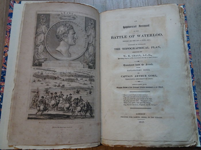 Napoleon's Great Army, Waterloo - rare book of Captain Arthur Gore 1817 - Map by Craan