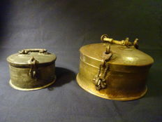 Two Antique Copper Betel Nut Pandan Boxes - Afghanistan - 19 and 20th Century