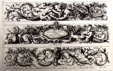 Jean Le Pautre ( 1618-1682 ) - 3 folio ornamental engravings from ca 1750