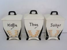 Amstel - 3 x Art Deco pottery coffee-, tea- and sugar storage pots