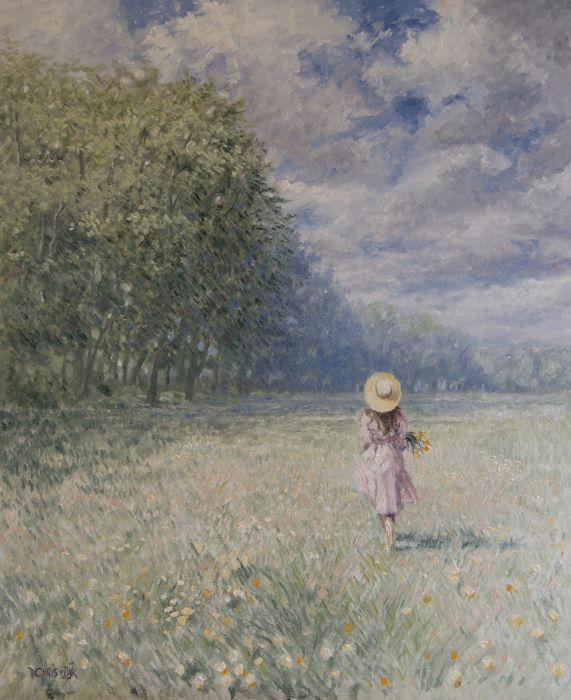 "Chris J. van Dijk -  ""Girl returns home after picking flowers"""