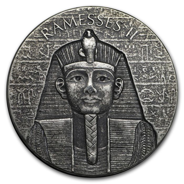 Tchad. 1000 Francs 2017 Ägyptische Relikte - Ramses II 2oz Antique