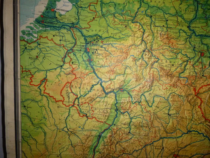 Map Of Germany With Neighbouring Countries.Lot With 4 School Poster Maps Germany And Neighbouring Countries