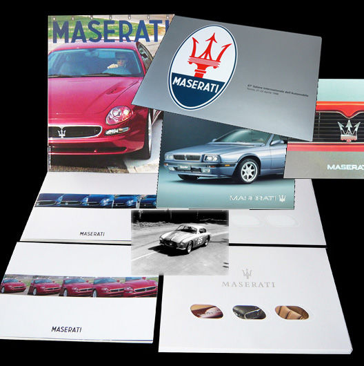 Maserati presskits/brochures for the 1998 Quattroporte, 1999 3200/3500 GT, Ghibli and V8 Evolouzione, Shamal and Spyder plus historical DVD with 50 racing/sportscars 1926-1998..